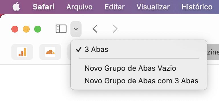 Grupo de Abas no Safari do macOS
