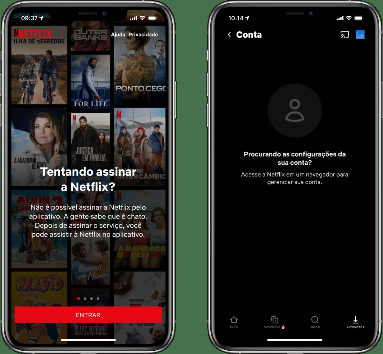 Mensagens no app da Netflix para iOS