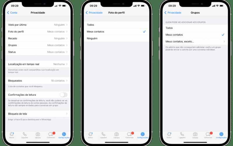 Opções de privacidade do WhatsApp