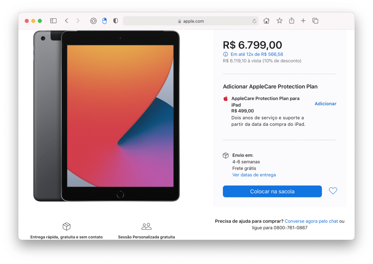 Disponibilidade do iPad cinza-espacial