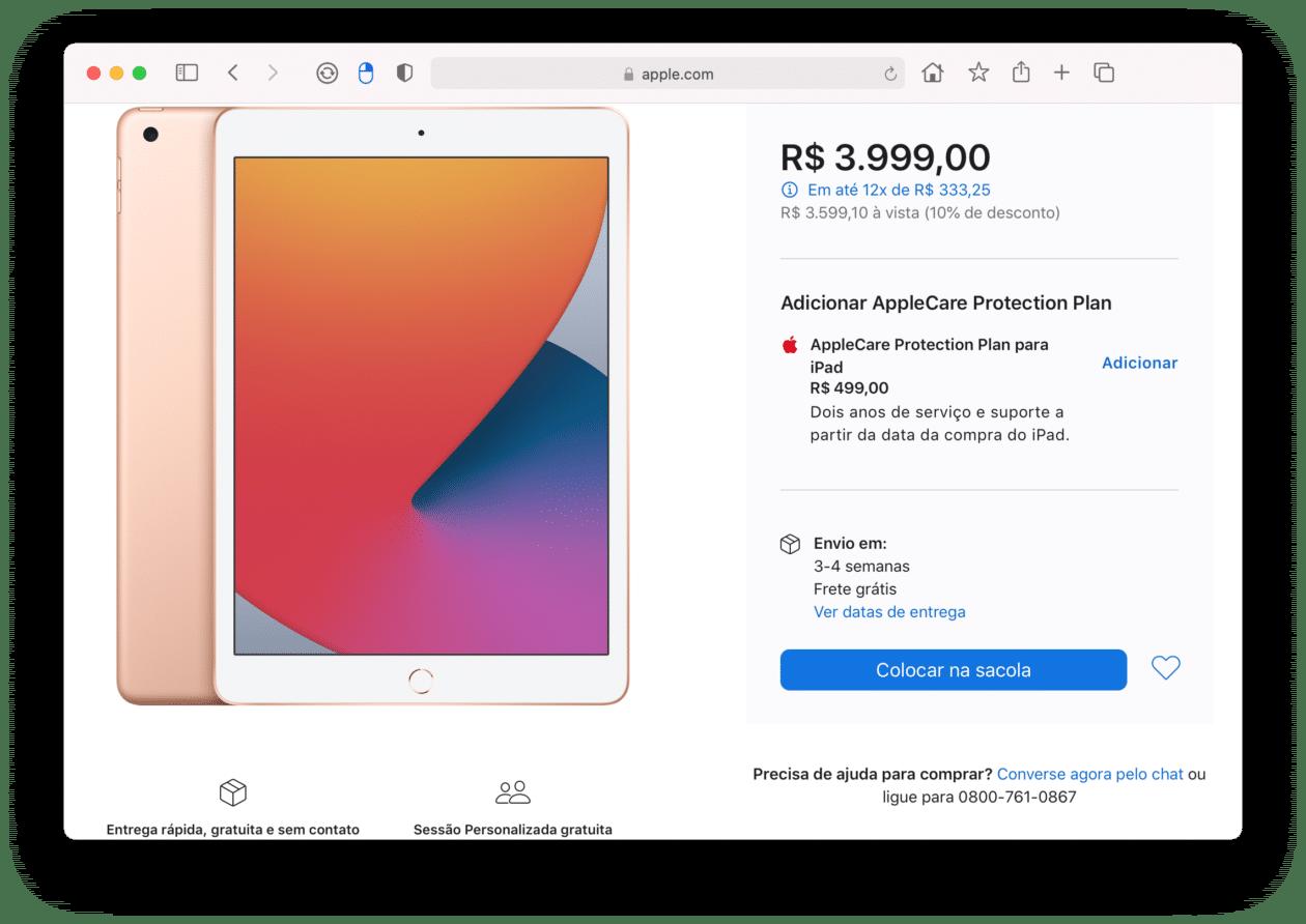 Disponibilidade do iPad dourado