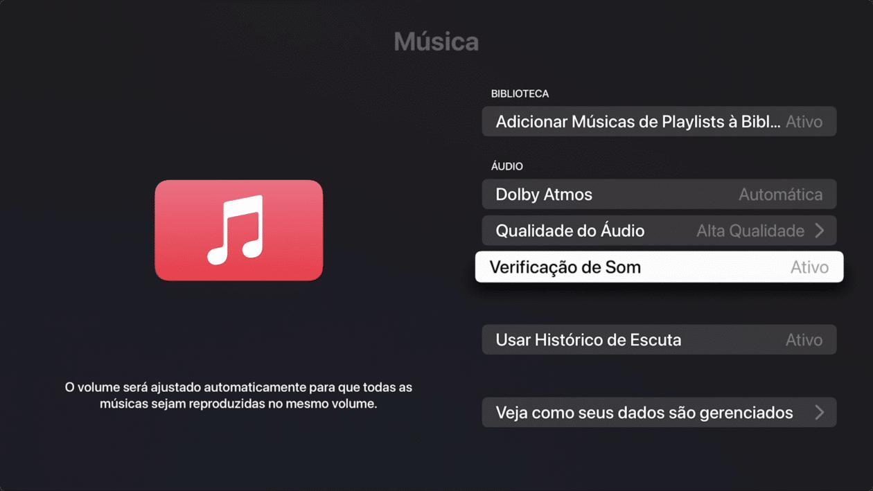 Verificação de som na Apple TV