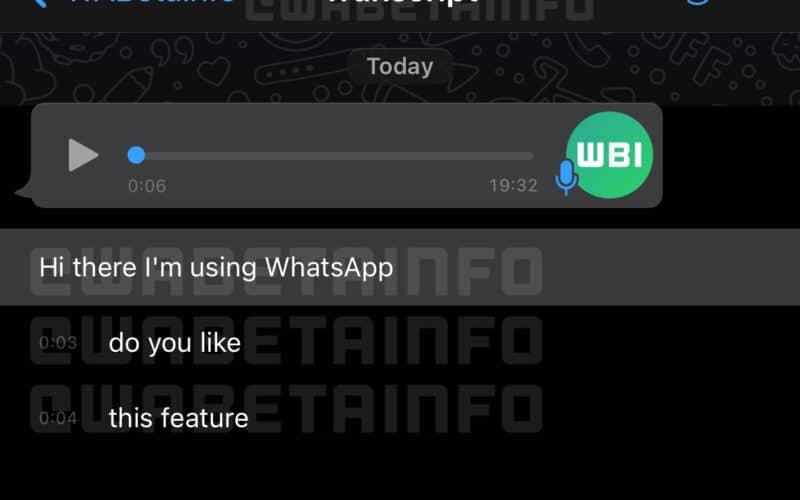 Transcrição de áudios do WhatsApp
