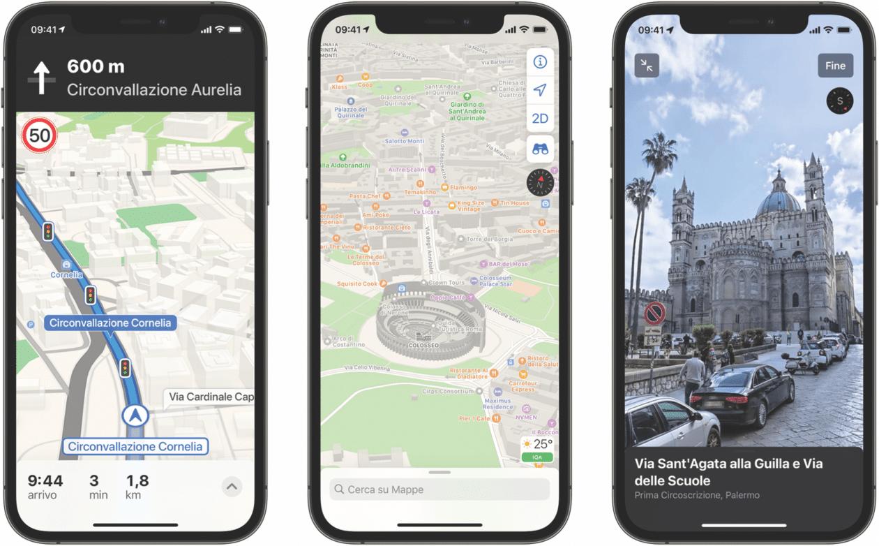 Mapas da Apple na Itália