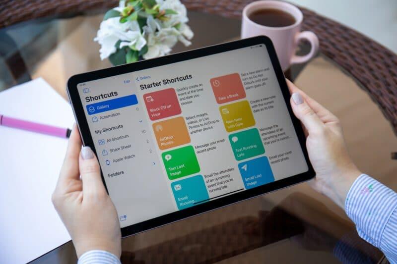 iPad rodando o app Atalhos