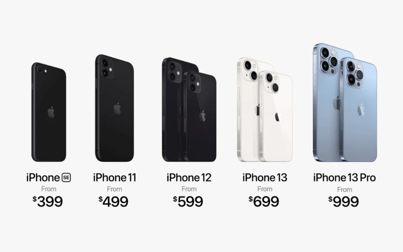 Linha de iPhone em 2021