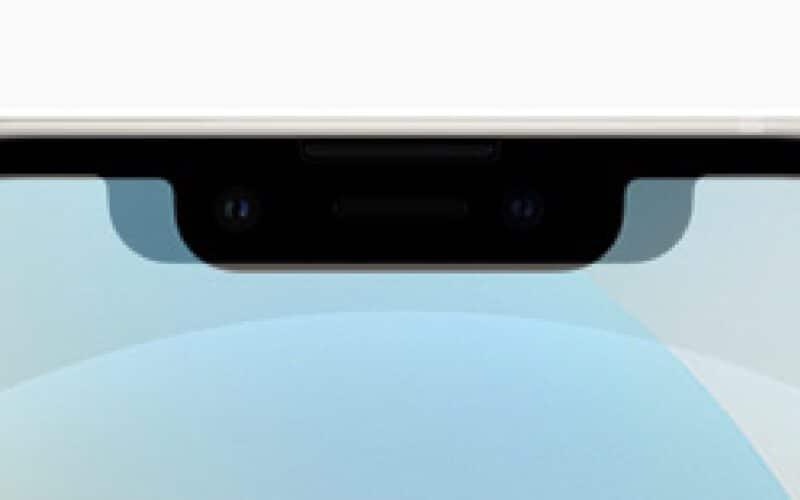 Comparativo de notch dos iPhones 12 e 13