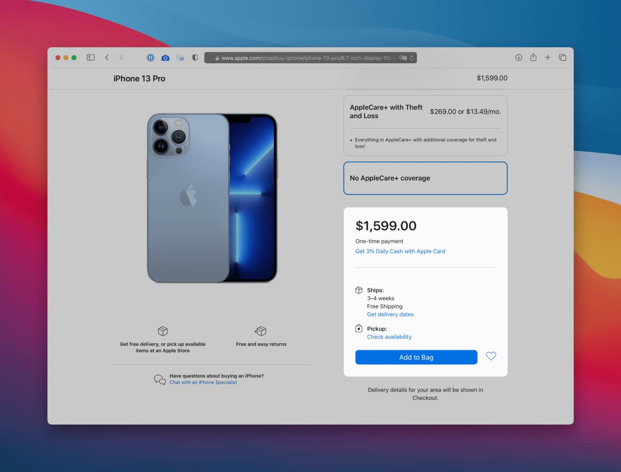 Pré-venda dos iPhones 13 nos Estados Unidos