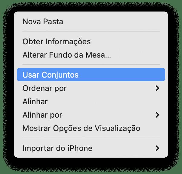Recurso Conjuntos, do macOS