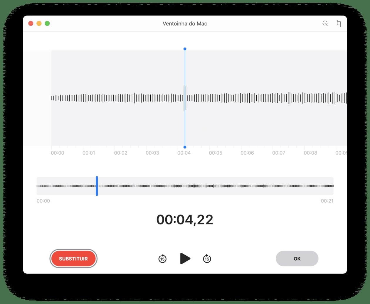 Editando uma gravação no Gravador do macOS