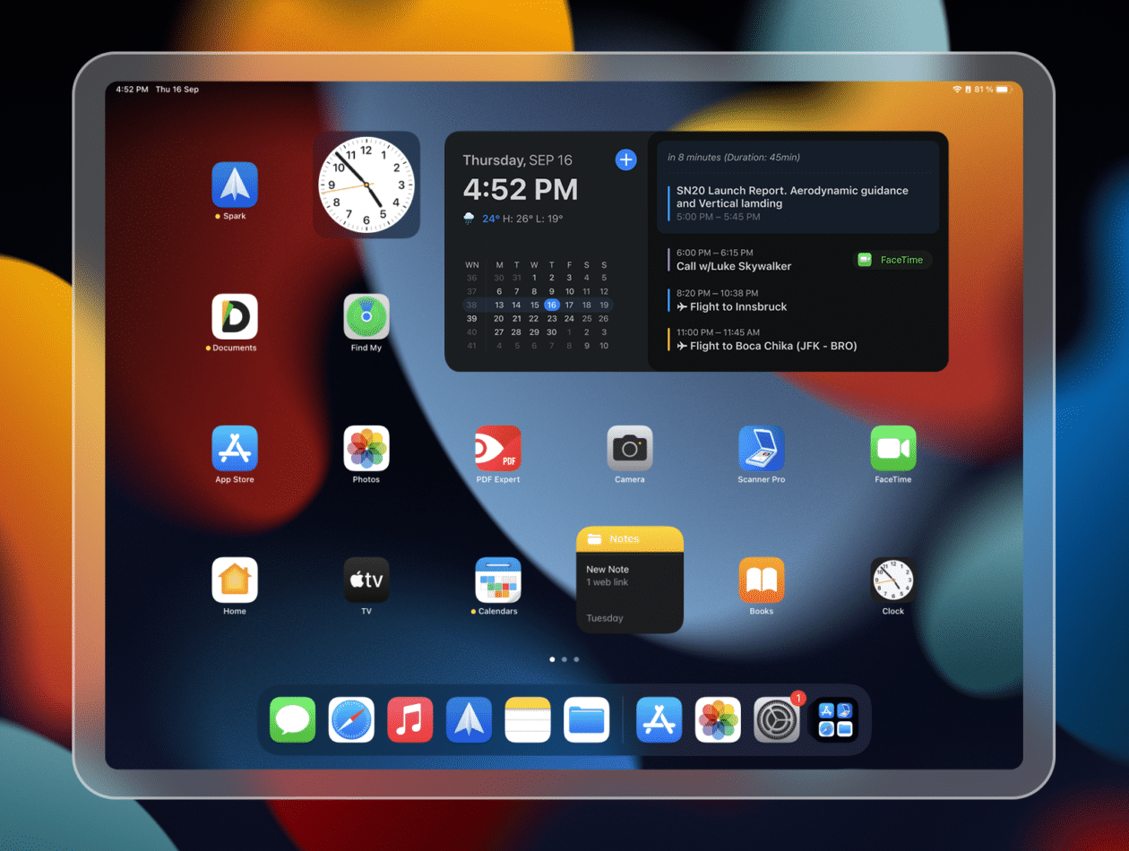 Novo widget para iPad do Calendars da Readdle