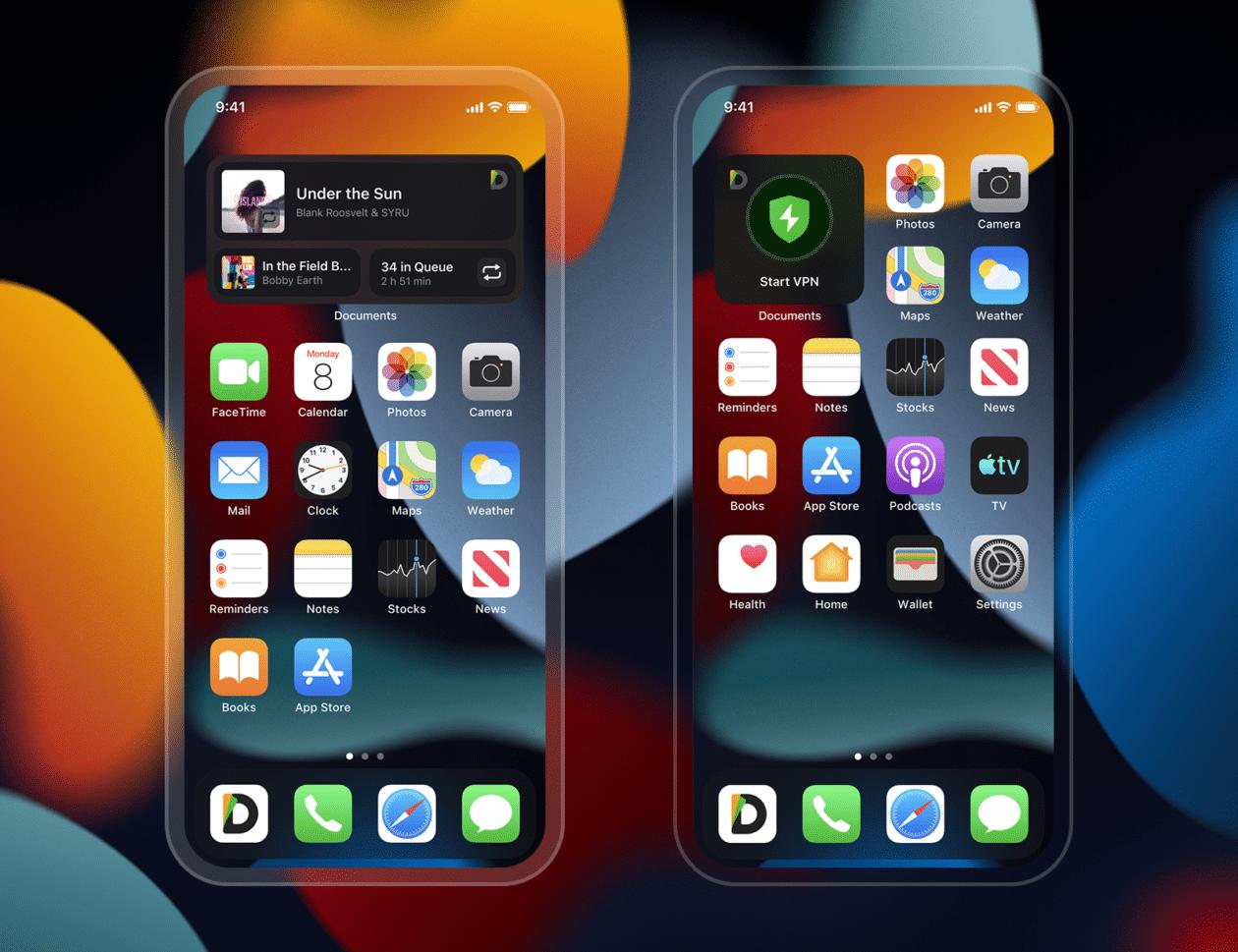 Widgets para iPhone redesenhados do Documents da Readdle