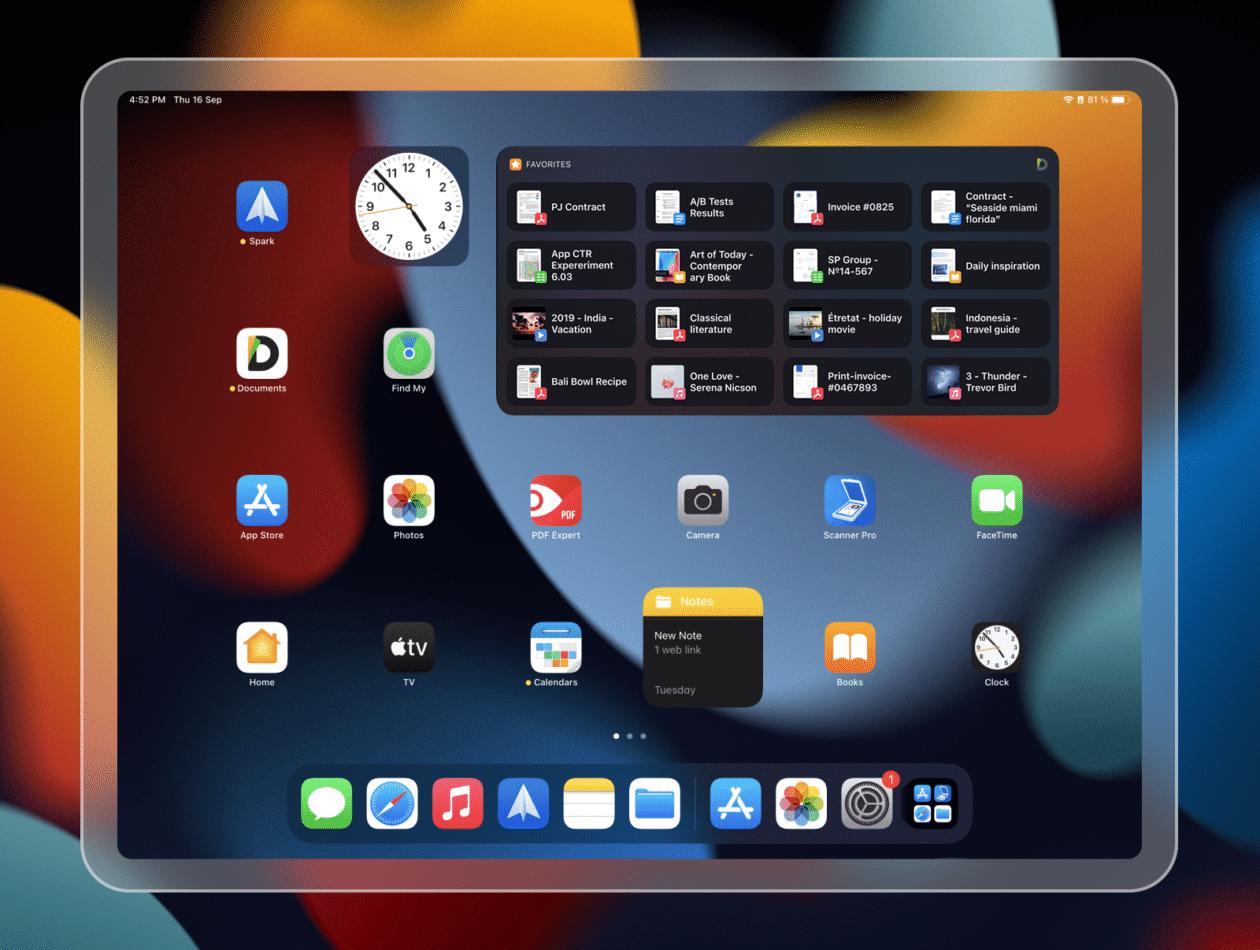 Novo widget para iPad no Documents da Readdle