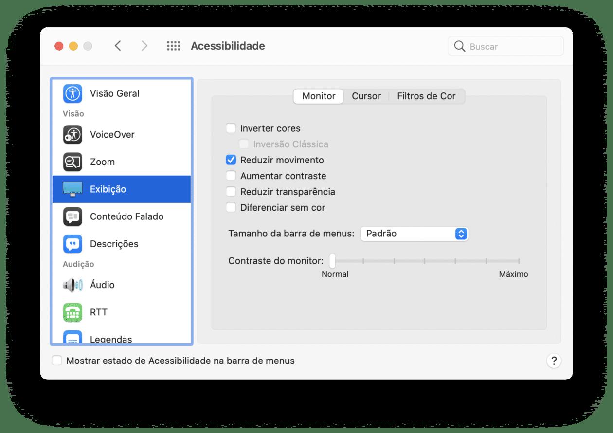 Opção para reduzir movimento no macOS