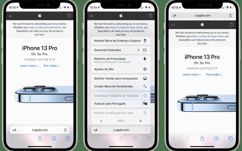 Alterar a posição da barra de endereços do Safari no iPhone