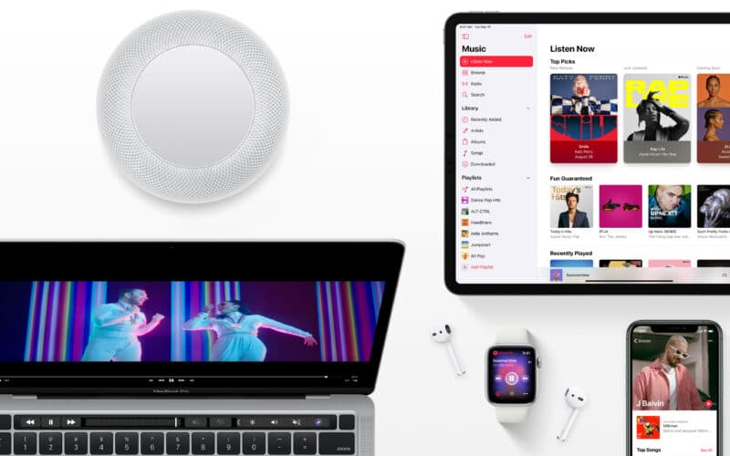 Apple Music hero com HomePod, iPad, MacBook, Apple Watch e iPhone