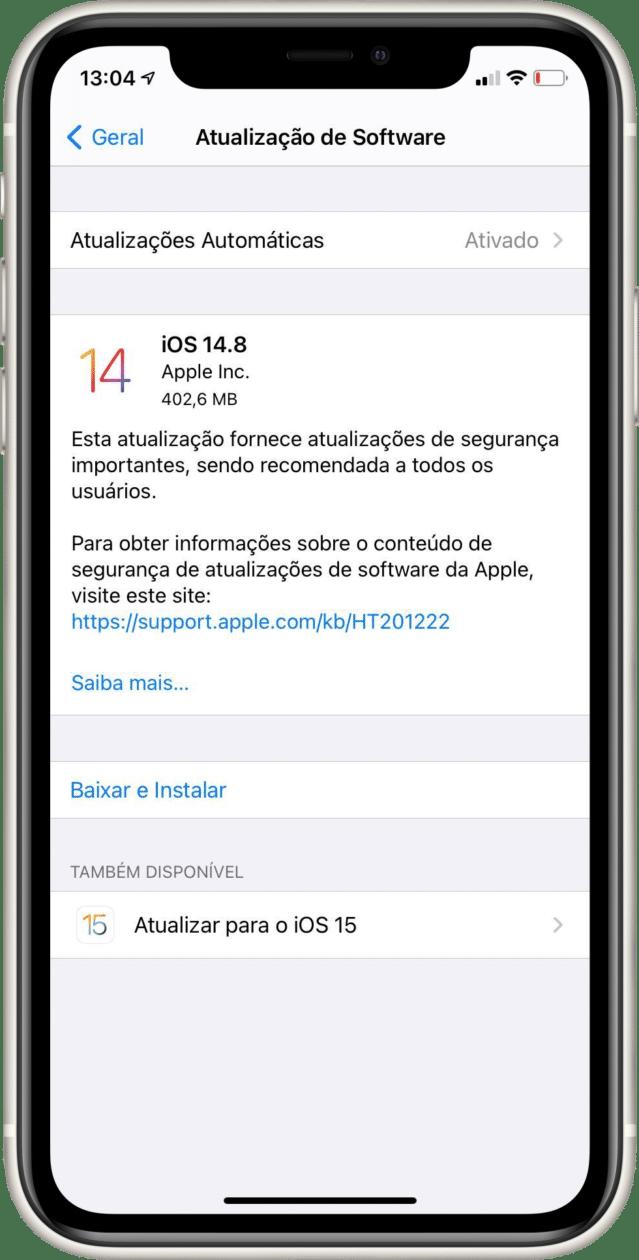 Atualização para o iOS 15 nos Ajustes do iPhone