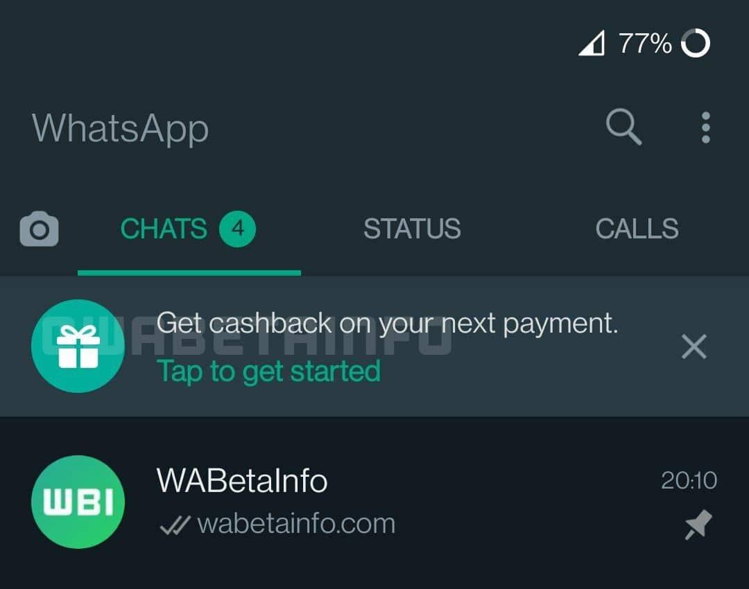 Cashback em pagamentos pelo WhatsApp
