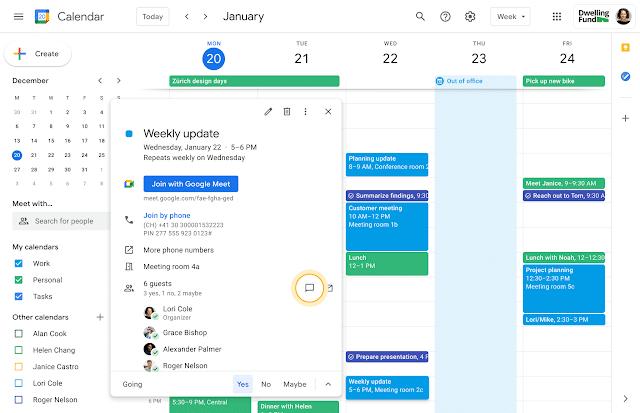 Conversas no Google Agenda