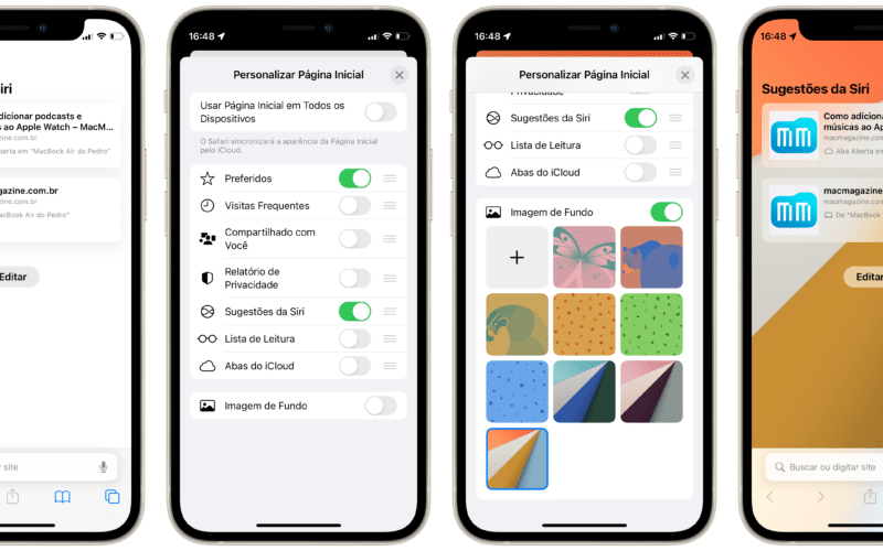 Personalizar a tela inicial do Safari no iPhone
