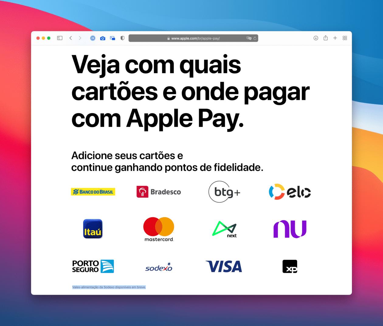 Sodexo no Apple Pay