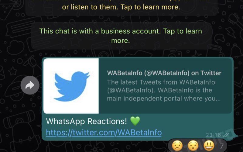 Reações no WhatsApp