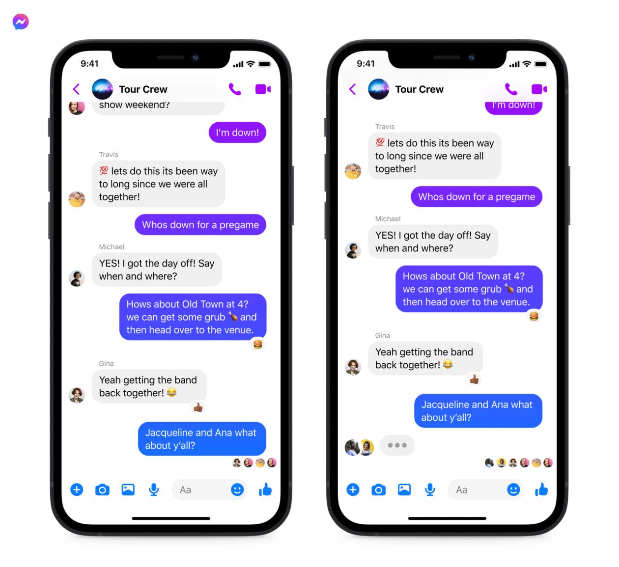 Visualização de mensagens no Messenger e no Instagram