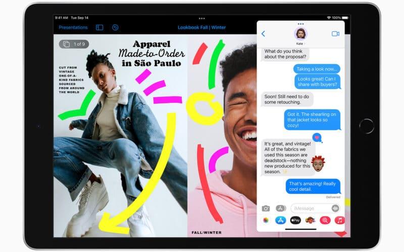 iPad de 10,2 polegadas com Slide Over no iPadOS 15