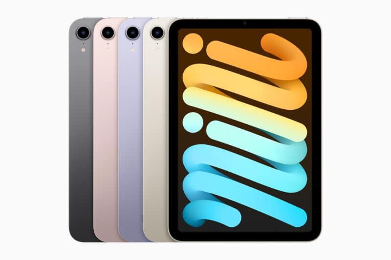 iPad mini de sexta geração de frente, em todas as cores
