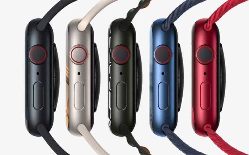 Linha de Apple Watches Series 7 de lado em várias cores