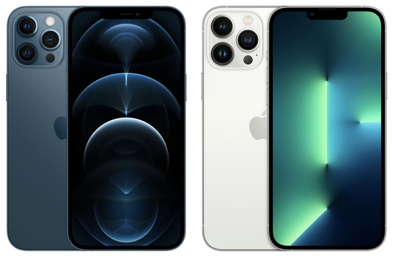Comparativo de notch dos iPhones 12 Pro Max e 13 Pro Max