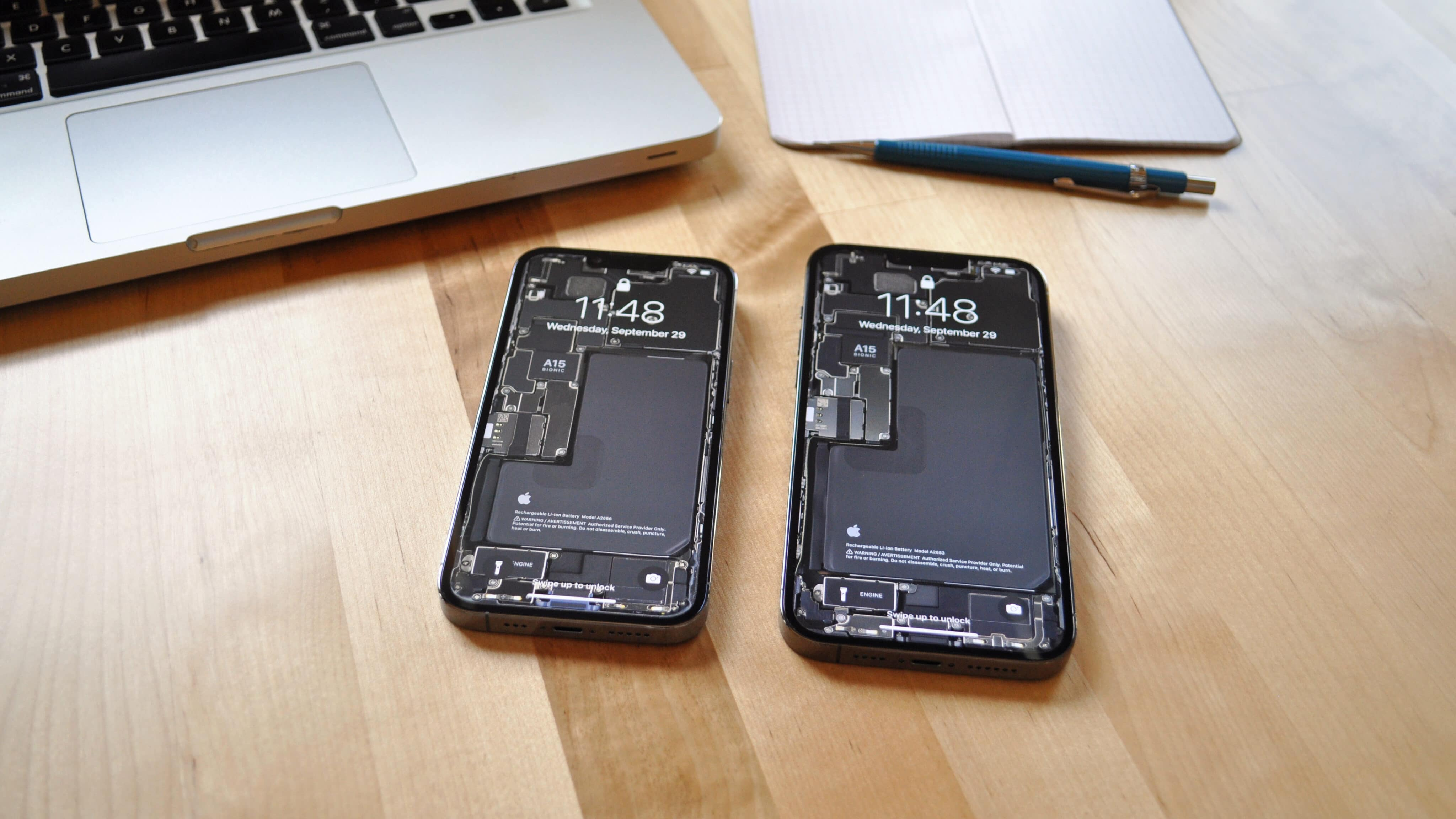 Wallpaper com o interior dos iPhones 13 Pro/13 Pro Max