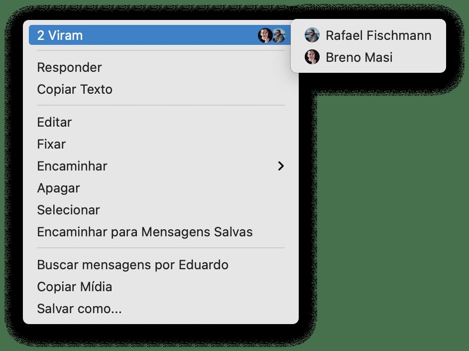 Recibo de leitura no Telegram do macOS