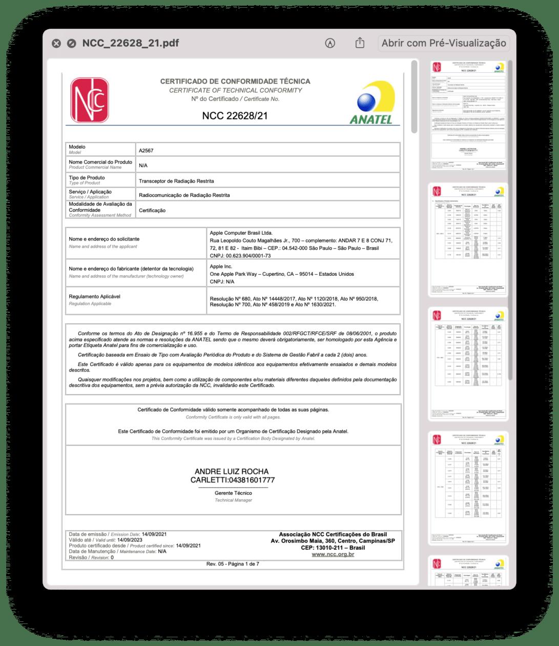 Certificado de Conformidade Técnica do iPad mini (Wi-Fi)