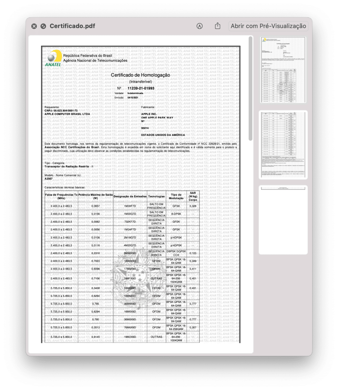 Certificado de Homologação do iPad mini (Wi-Fi)