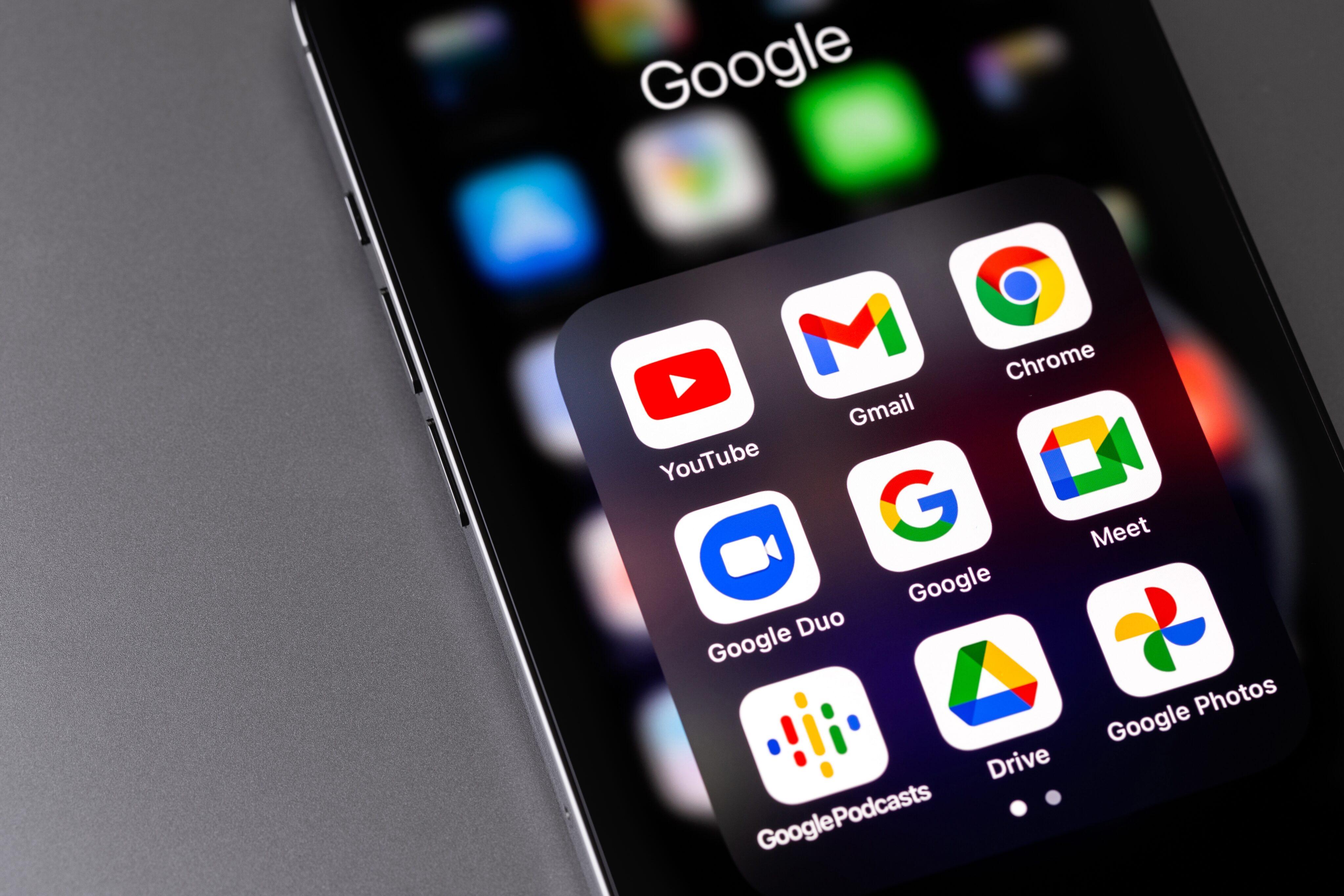 Aplicativos do Google num iPhone