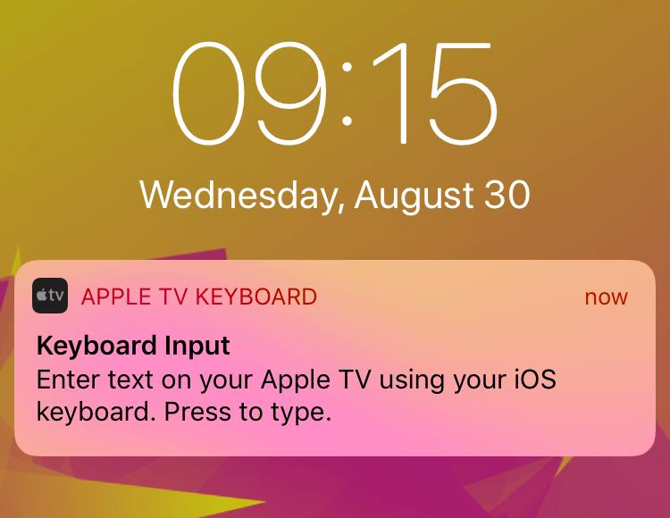 Notificação de teclado da Apple TV