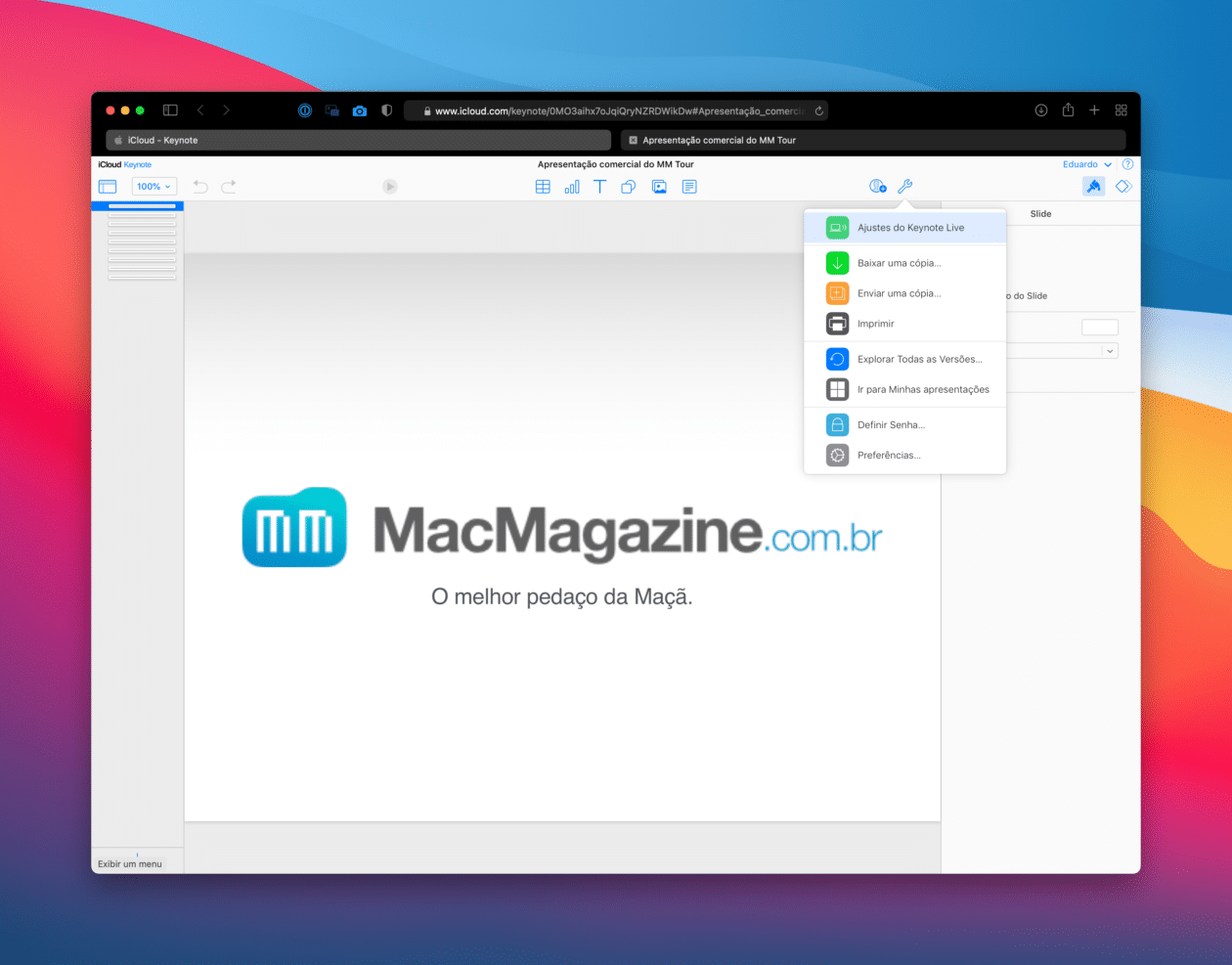 Keynote Live no iCloud.com