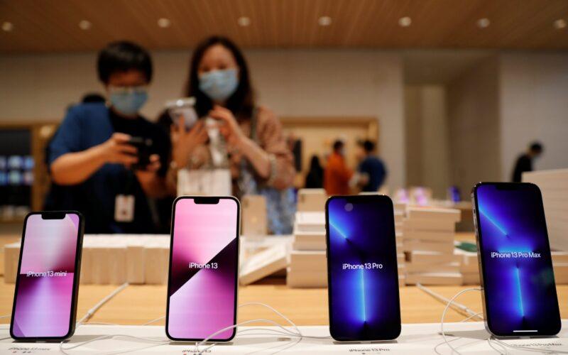 iPhones 13 em Apple Store