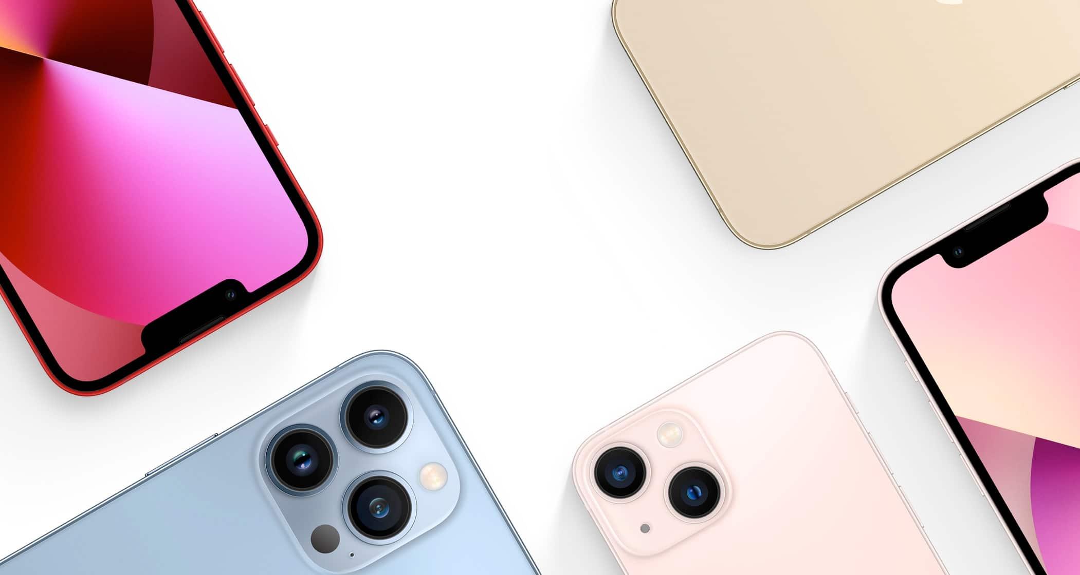 iPhones 13 e 13 Pro de cima na diagonal
