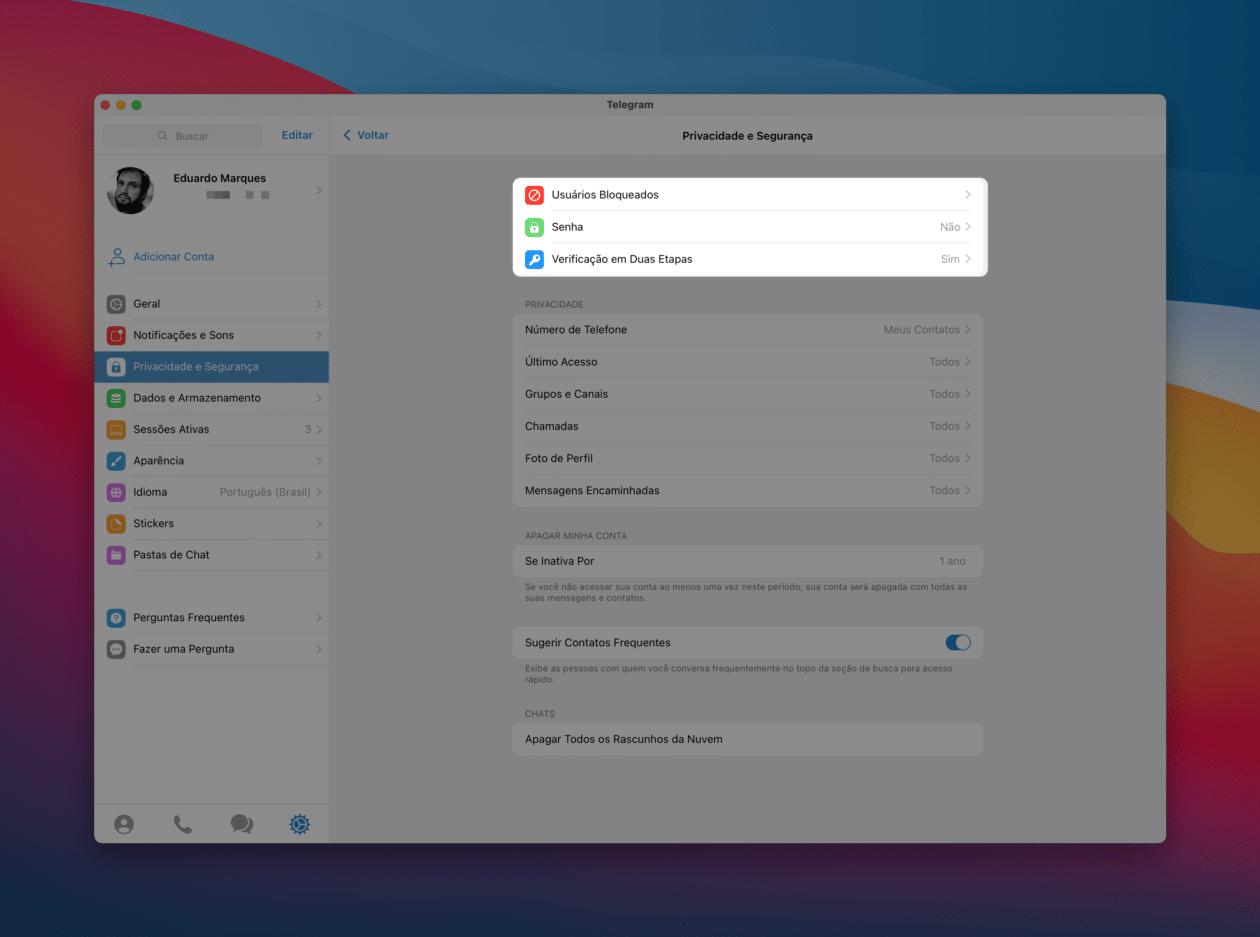 Bloquear contato no Telegram para Mac