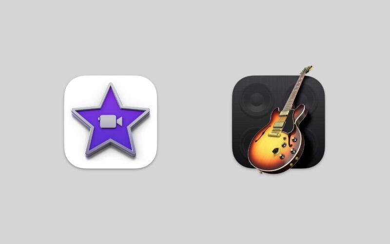 Ícones do iMovie e do GarageBand para macOS