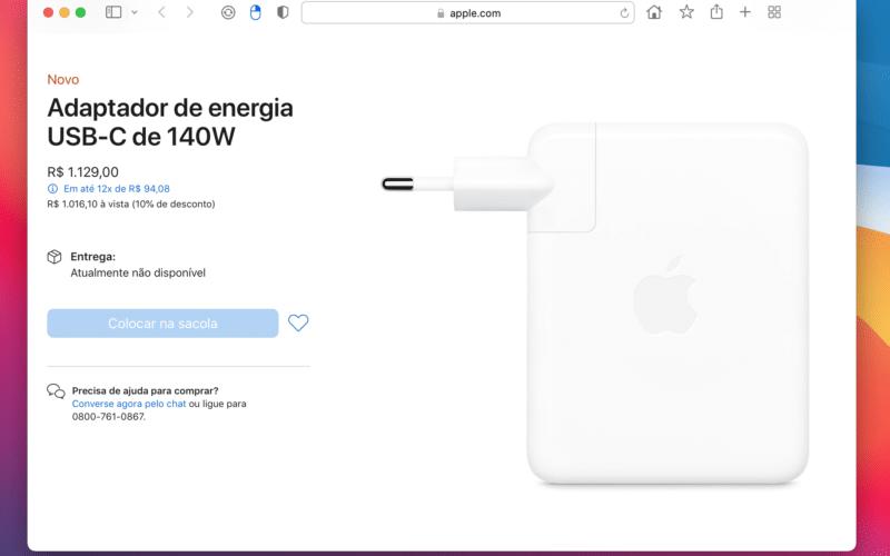 Adaptador de energia de 140W da Apple