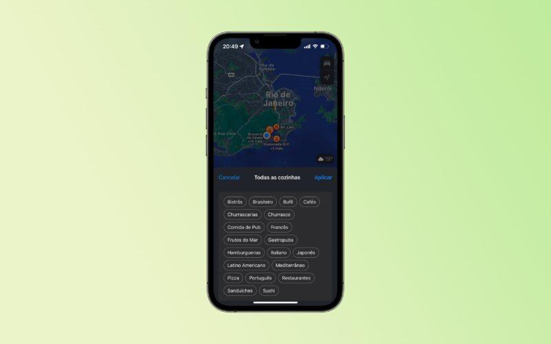 Filtros no Mapas da Apple