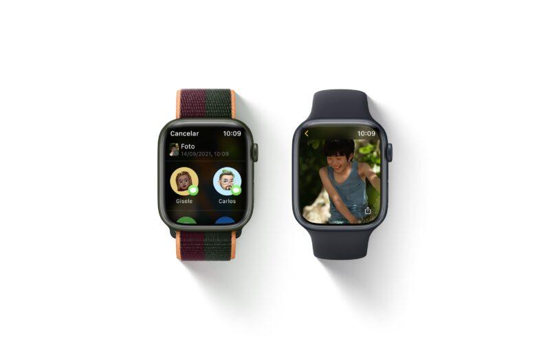 Fotos pelo app Mensagens no watchOS 8