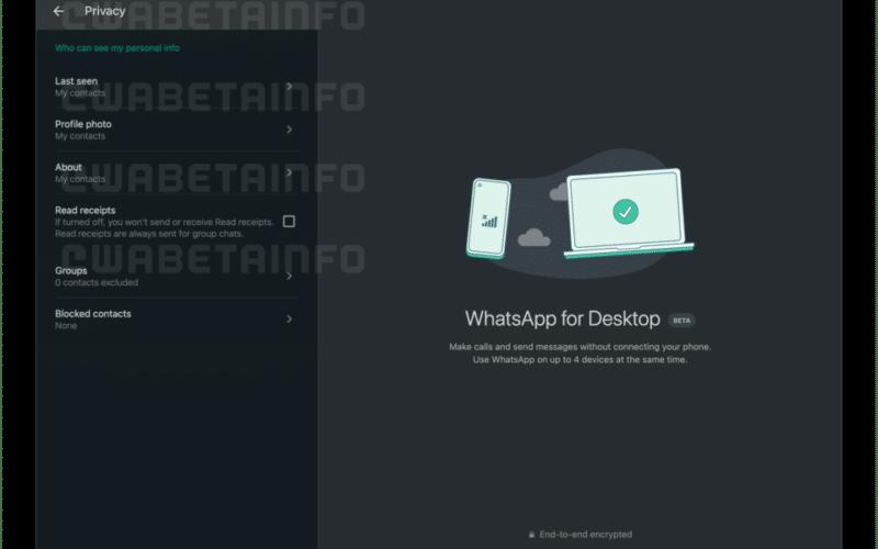 Ajustes de privacidade no WhatsApp Desktop