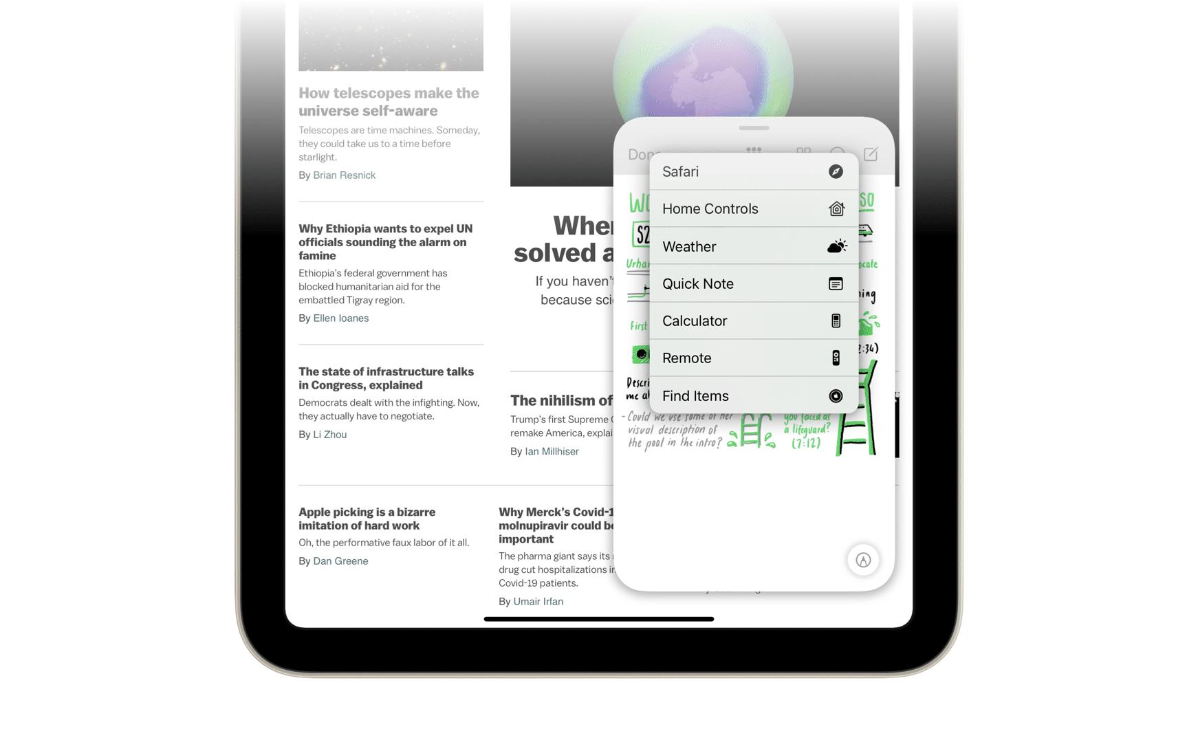 Conceito Notas Rápidas iPadOS15