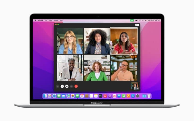 MacBook Air rodando o FaceTime no macOS Monterey 12