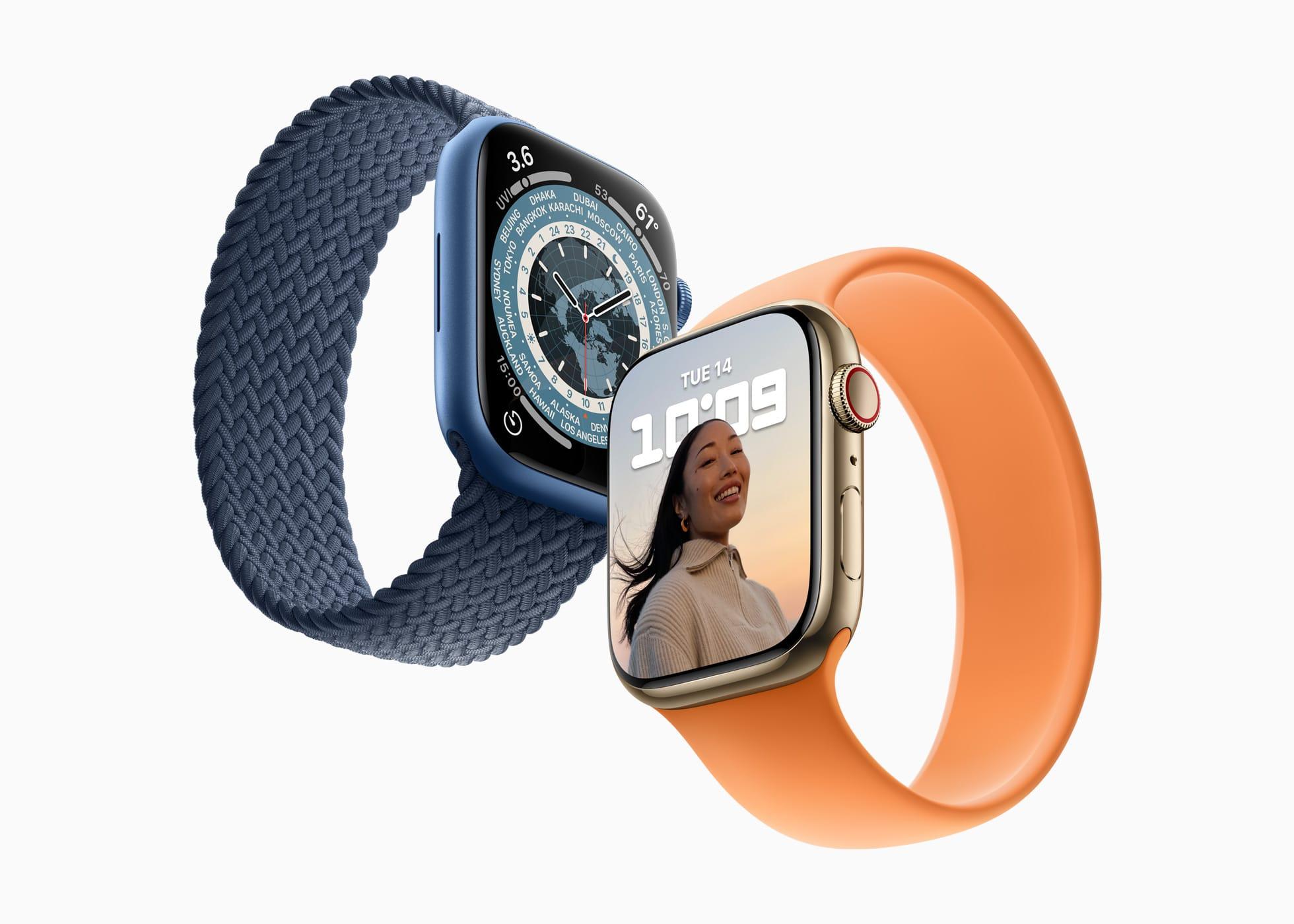 Apple Watches Series 7 inclinados, na diagonal